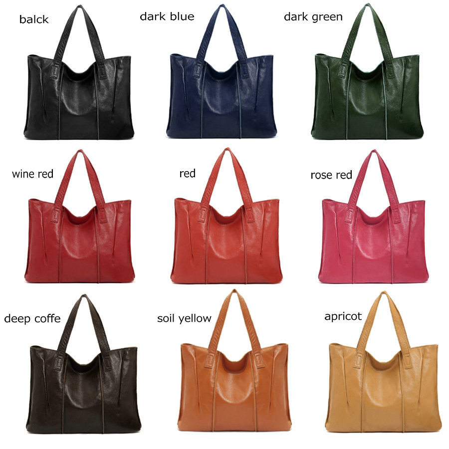 2b27ca968610 Genuine Leather bag vintage women Tote bag Genuine Leather handbags brown  black red green apricot candy color women shoulder bag-in Top-Handle Bags  from ...