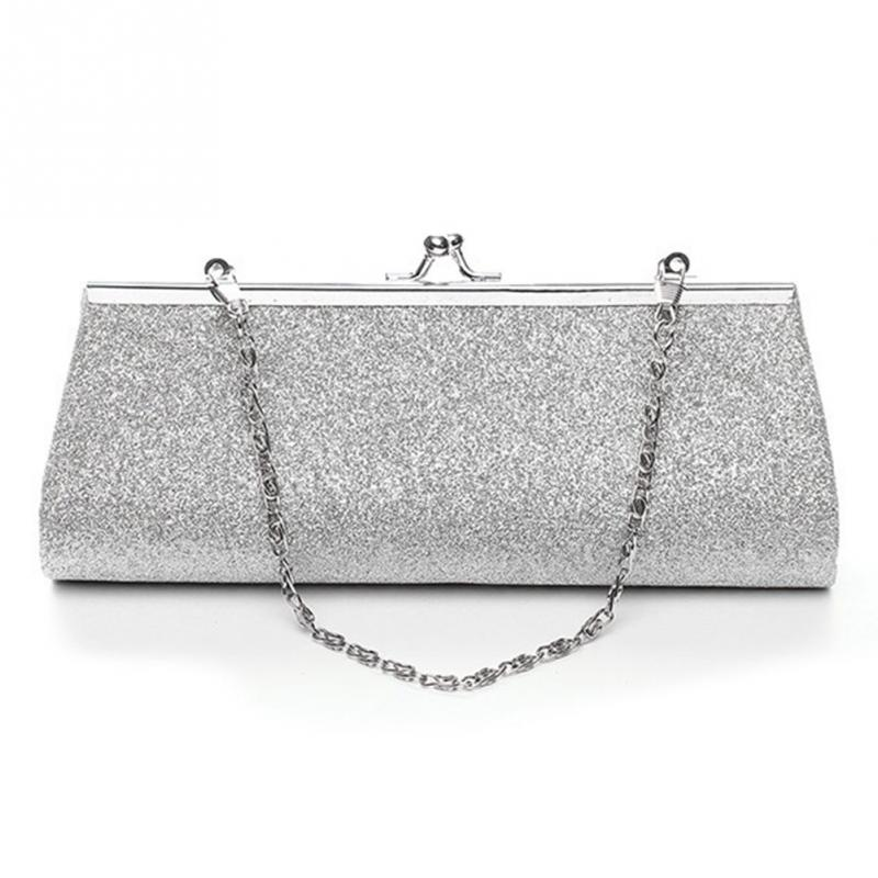 Woman Evening Bag Shiny Glitter Clutch Purse Bag Evening Party Wedding Bridal Banquet Handbag Shoulder Bag With The Chain