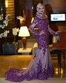 Purple Sirena Vestidos de Noche Con Apliques de Encaje Hijab Musulmán de Cuello Alto Manga Larga Árabes vestidos de Noche Vestidos de Fiesta robe de soirée