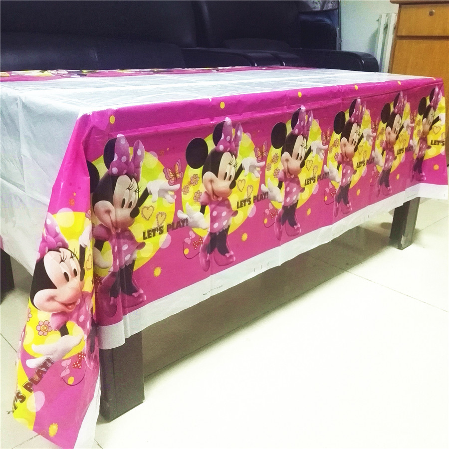 108cm*180cm Minnie Mouse Party Supplies Tablecloth Decorations Table Cloth minnie supplies Girls Birthday Party Decorations 3