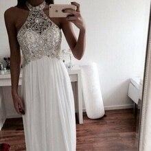 MZ-MSRHS Neckholder Silbrig Kristalle Prom Kleider Glänzende Perlen Kleid Lange Weiß Chiffon Abendkleider