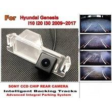 Auto Intelligente di Parcheggio Tracce Della Macchina Fotografica HD Back up della Macchina Fotografica di Inverso Videocamera vista posteriore Per Hyundai Genesis i10 i20 i30 2009 ~ 2017