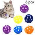 6 шт. игрушки для мяч для котов с кольцом для игры в жевательные погремушки с царапинами пластиковый мяч интерактивные игрушки для кошек тов...