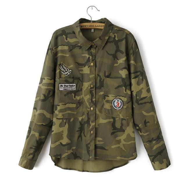 Camuflaje Camisas Militares Blusa Mujer Casual Camisa Moda Militar De Verde  Femeninas Invierno Mezclilla Marca UxHqYgn6 b3708242fdf3