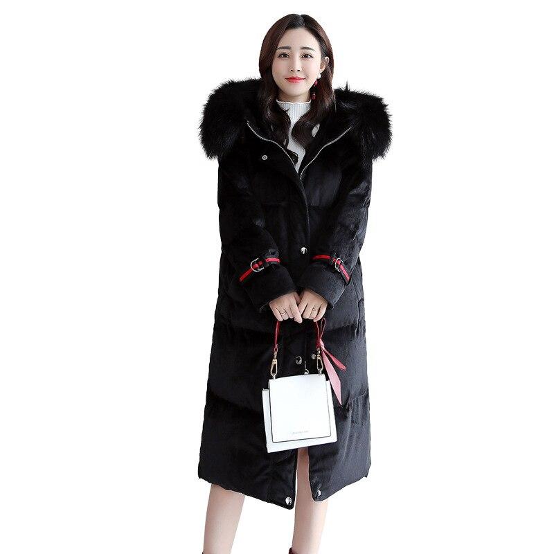 Plus Coton Longue D'hiver Mince Dans La Femmes Veste Nouveau D'engrais Brodé Manteau 2018 Black Marée Lâche Section FX4q4Uw