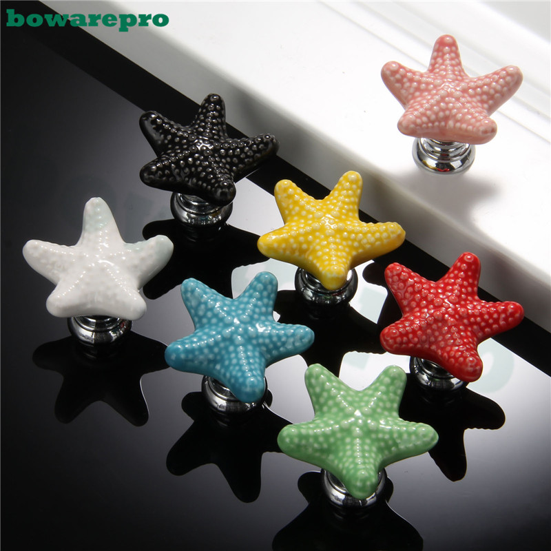 7pcs Starfish Style Ceramic Door Knob Room Children Cupboard Cabinet Suitable Knobs Drawer Furniture Pull Handle Chromatic vintage bird ceramic door knob children room cupboard cabinet drawer suitable kitchen furniture home pull handle with screws
