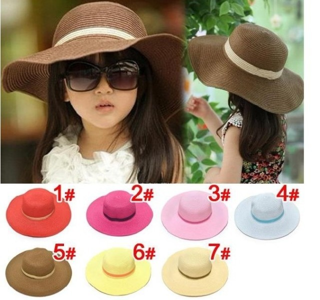 e71c3726 Children gilrs 7 colors Beach Hat Floppy Sun Hat Baby Summer Hats Kids  Accessories Fashion Cap Girls Hat 8pcs/lot free shipping