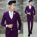 (3 Unids/set) últimos Diseños Trajes de Boda Para Hombres Moda Azul Púrpura Hombres Traje Set Vestido Formal Slim Fit Esmoquin Ropa 5XL