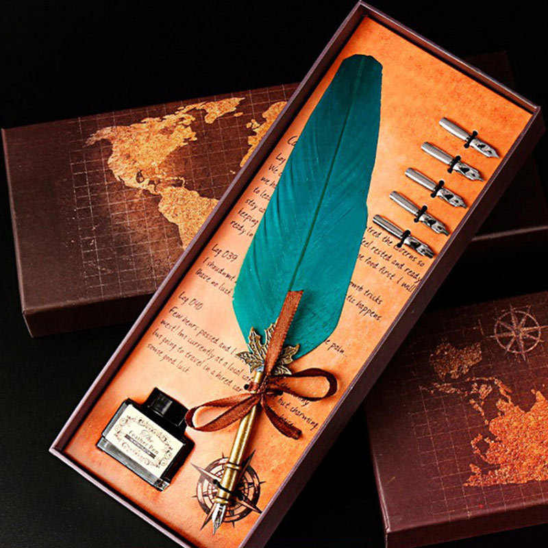 Antique Feather Dip Pen Set Harry Potter Writing Quill Ink Best Christmas Gifts