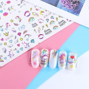 Image 5 - 12pcs Water Nail Stickers Flamingo Cute Cartoon Design Water Decal Sliders Wraps Tool Manicure Nail Art Decor Tips JIBN1057 1068