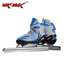 VIK-MAX Adult Kids Blue Leather Speed Skating Ice Skates With Aluminium Alloy frame and Stainless Steel Tubular Ice Blade
