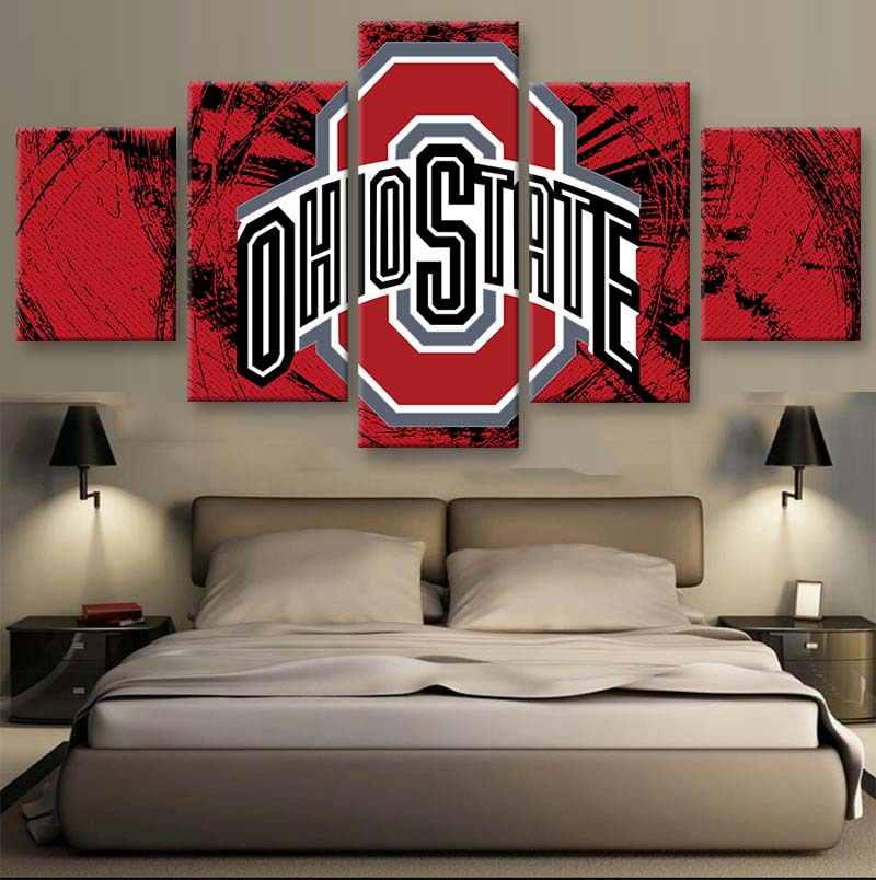 Unframed 5 Panel Ohio State Sports Designed Canvas Painting On The Wall Pictures For Living Room