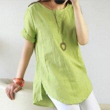Summer 2019 Female Cotton Button Solid T-shirt O-Neck Short