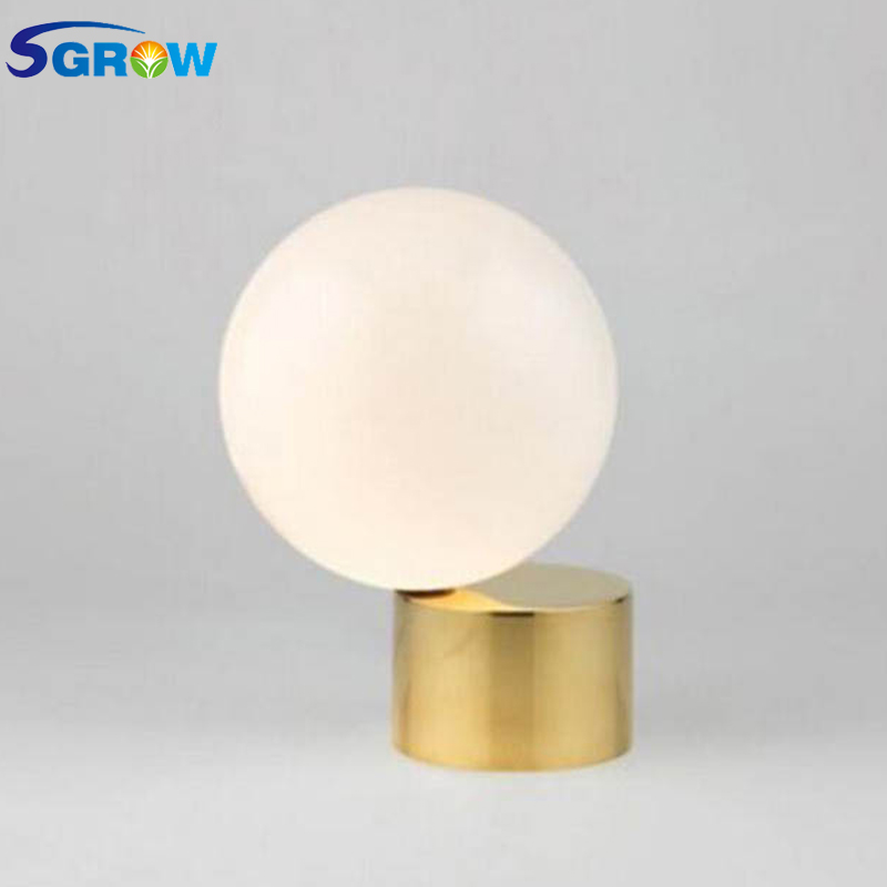 все цены на SGROW Gold Base Glass Ball Table Lamp with E27 Bulb Indoor Lighting White Stand Desk Lights for Bedroom Dinning Room Led Lamps