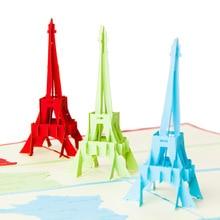 Customized 3D paper Eiffel Tower cards  Wedding Invitation  handmade XmasPostcard