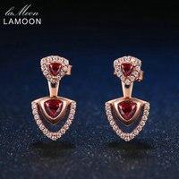 Lamoon Triangolo Naturale Rosso Granato 925 Sterling Silver Charm Orecchini di Goccia Delle Donne 18 K Oro Rosa Placcato S925 Fine Jewelry LMEI011