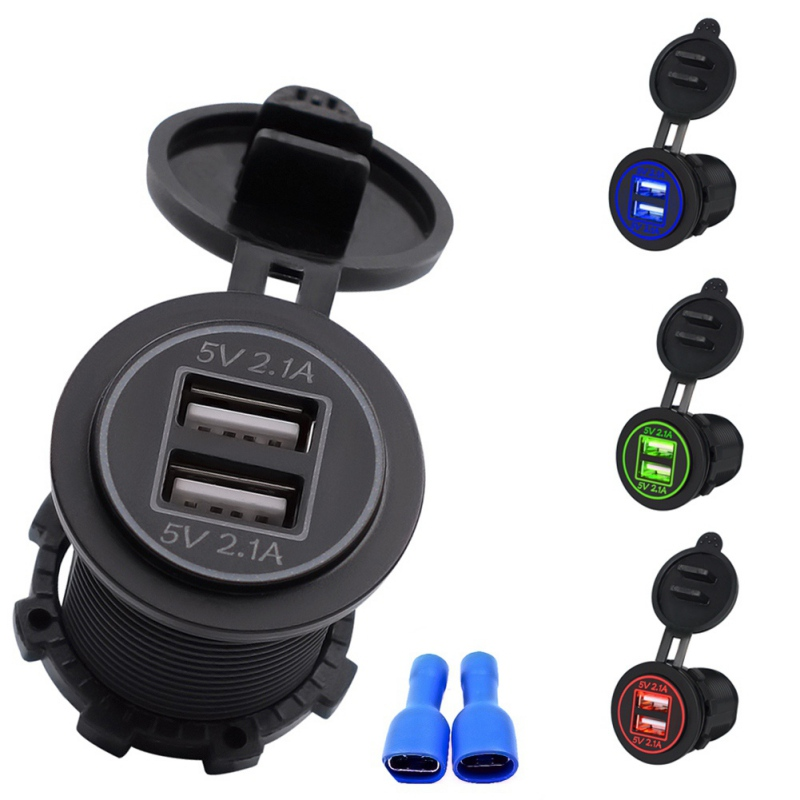 Waterproof Car Charger 12V 24V 4 2A Universal Dual USB Car Cigarette Lighter LED Digital Display