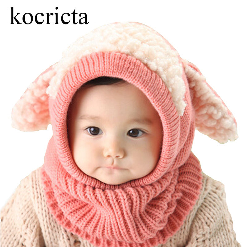 Winter Baby Warm Knitted Hats Kids Girls Boys Woolen Cute Hood Scarf Toddler Earflap Cloak with Ears Cosplay Balaclava