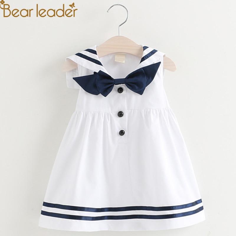 305a6b99024fd Ayı Lideri Marka Elbise 2018 Yeni Yaz Lolita Stil Kız Elbise Kolsuz Yay  Şerit Prenses Elbise Çocuklar Elbise Parti Elbise