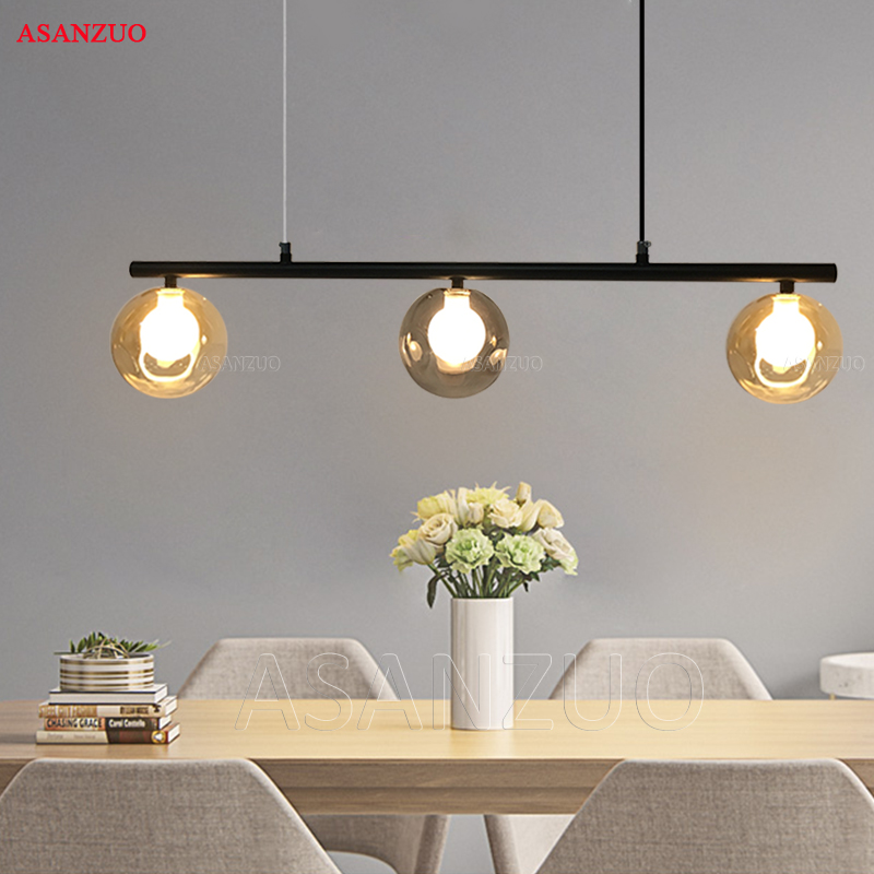 Modern Glass Ball Pendant Lights Creative Design Lamps for Dining Room Living Room Bar 3heads G4 Amber Smoke Grey Glass light creative design modern led colorful glass pendant lights lamps for dining room living room bar led g4 85 265v bubble glass light