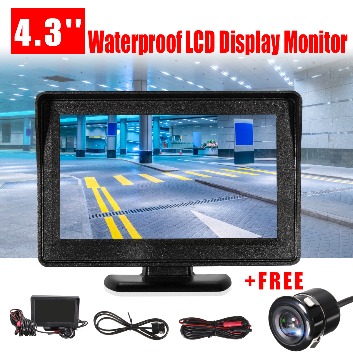 TFT LCD Car Monitor DVD Radar Detector Rearview Mirror Waterproof Rear View Backup Camera Parking Reverse Sensor System Assistan wireless car rear view kit 4 3 tft lcd vehicle screen monitor 170 wide degree mini reverse backup camera parking sensor 4 radar