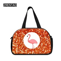 ZRENTAO animal cotton travel bags new fashion flamingo duffle bags large capacity Mommy bags with shoes pocket weekend bags