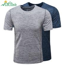 LoClimb Elastic Outdoor Camping Hiking T-Shirt Men Fitness Quick Dry Tshirt Running Climbing Trekking Men's Sport T Shirt AM270