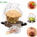 1pcs Foldable Steam Rinse Strain Fry Chef Basket Magic Basket Mesh Basket Strainer Colander Kitchen Cooking Tools