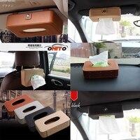 4color Car Sun Visor Hanging Armrest Type Tissue Box Auto Accessories Carbon Fiber PU Multifunction Auto