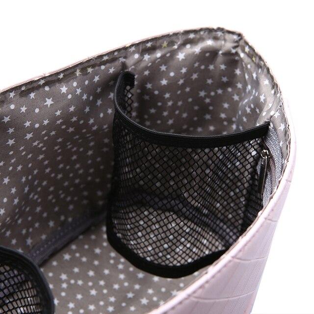 Moda anne bebek çantası pembe şerit kadın bezi çanta taşınabilir yeniden kullanılabilir ıslak çanta seyahat ıslak su geçirmez çantalar Mini boyutu 23*14cm