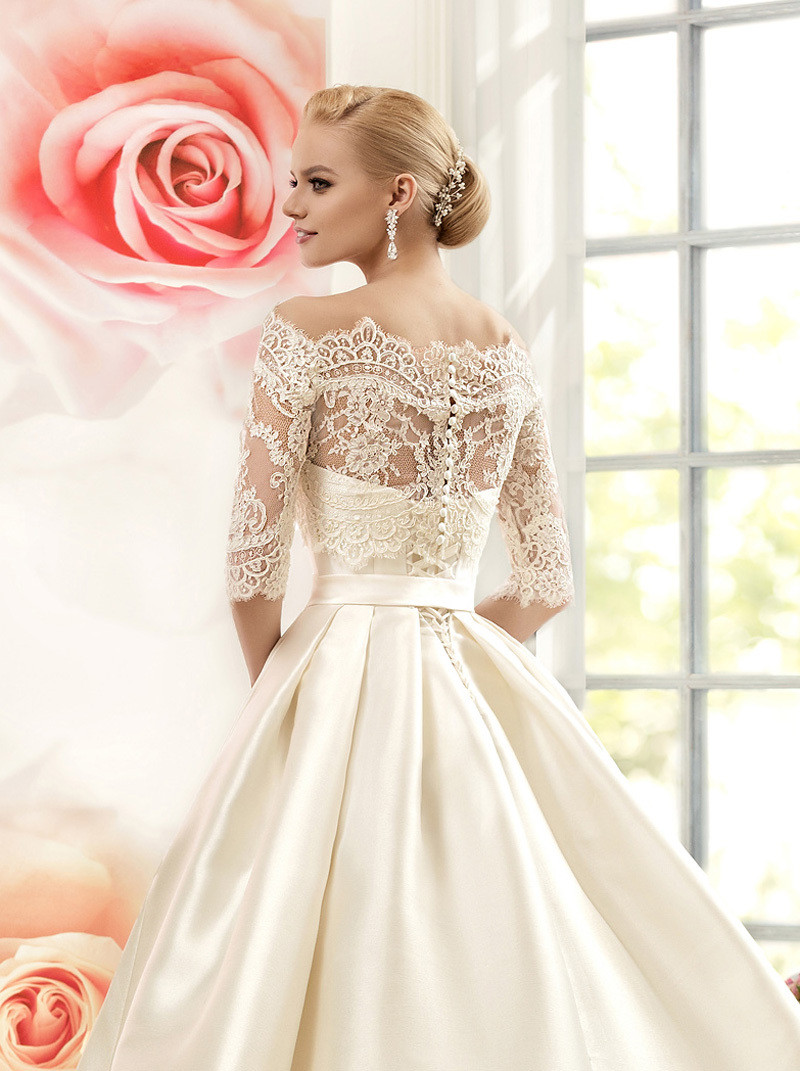 Vnaix W3099 Luxruy Ball Gown Lace Wedding Dresses 2017 Satin With Jacket See Though 3/4 Sleeves Sweep Train Bridal Wedding Gown 6