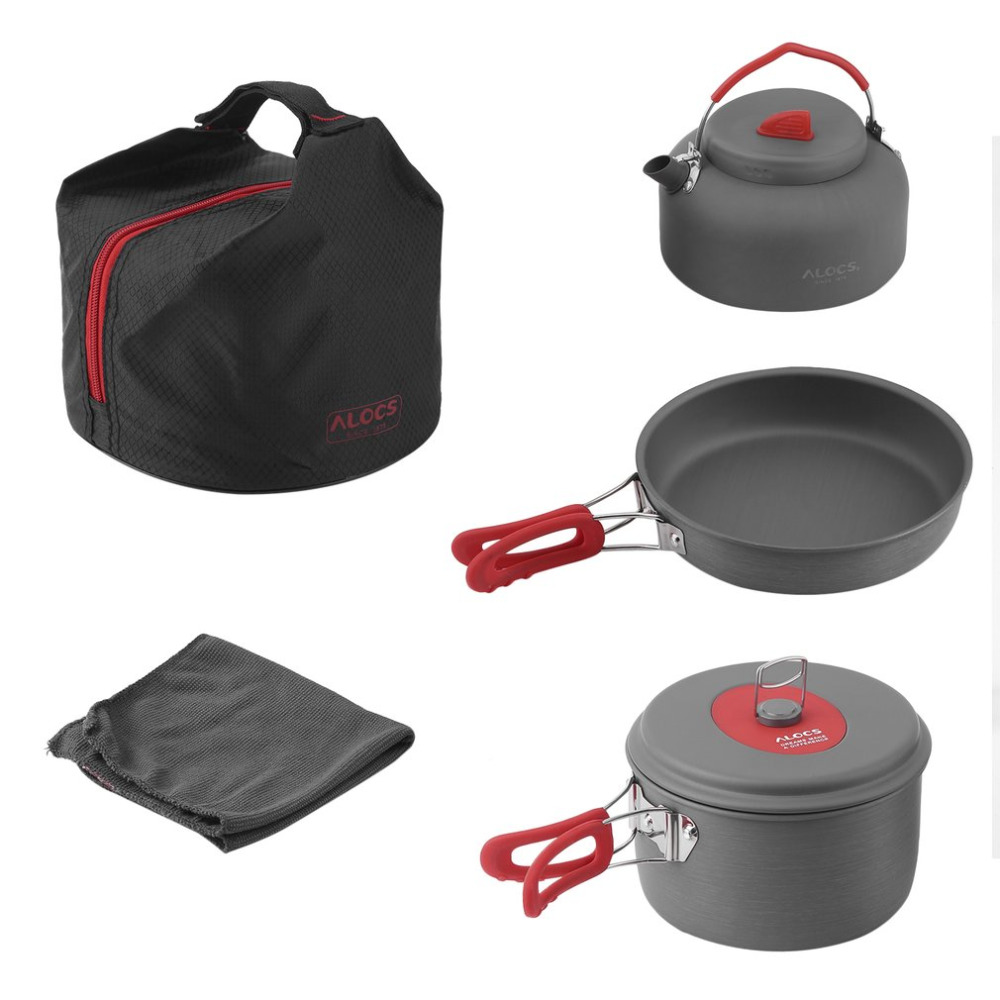 ALOCS antiadhésif en aluminium Camping ustensiles de cuisine ultra-légers cuisine extérieure pique-nique Set Camp Pot casserole bouilloire torchon pour 2-3 personnes