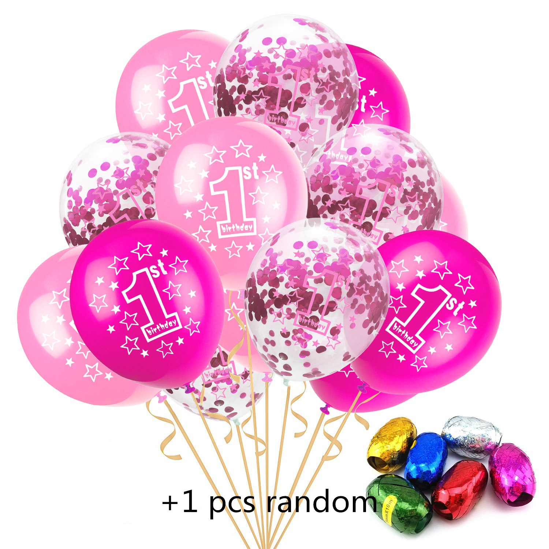 12 Inch Happy 1 Year Birthday Blue Pink Baby Party Cartoon Hat Toy 10pcs 1 One Year+5pcs Confetti +1pcs 10M Random Color Ribbons