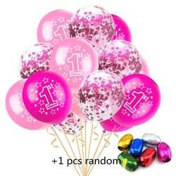 12 дюймов с днем рождения 1 год Синий Розовый Вечерние Вечеринка мультфильм шляпа игрушка 10 шт. 1 один год + 5 шт. конфетти + 1 шт. 10 м случайный