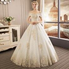 Luxury Wedding Dresses 2019 Gold Lace Floor Length Wedding Gowns Vestido De  Noiva White Ivory Bride a1b0542ccc9d