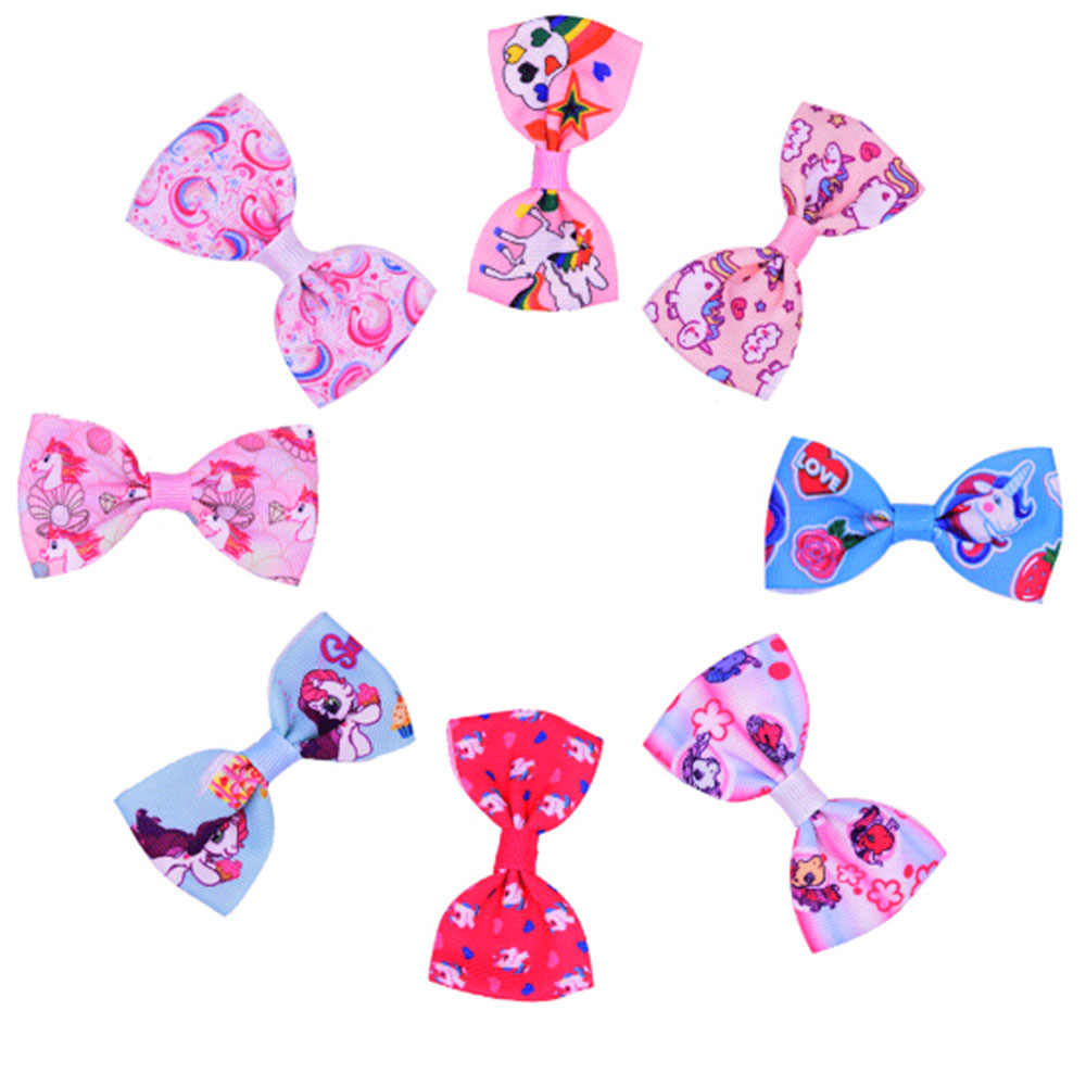 2/10pcs Colorful Bow Hairpins Hair Barrettes Children Accessories Cute Baby Girls Headwear Unicorn Hair Clip random