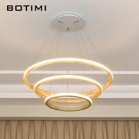 BOTIMI 220V LED Wooden Rings Pendant Lights For Dining Hotel Hall Suspension Lamp Foyer Kitchen Hanging Home Deco Lighting