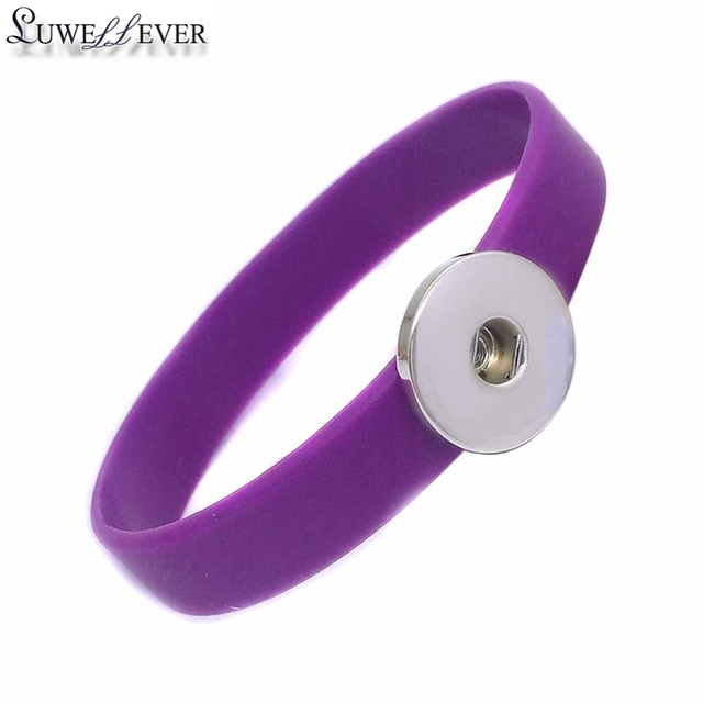 Hot Sale Candy Colors Fashion Interchangeable Silicone 074 Bangle Fit 18mm Snap Button Jewelry Charm Bracelet For Women Gift