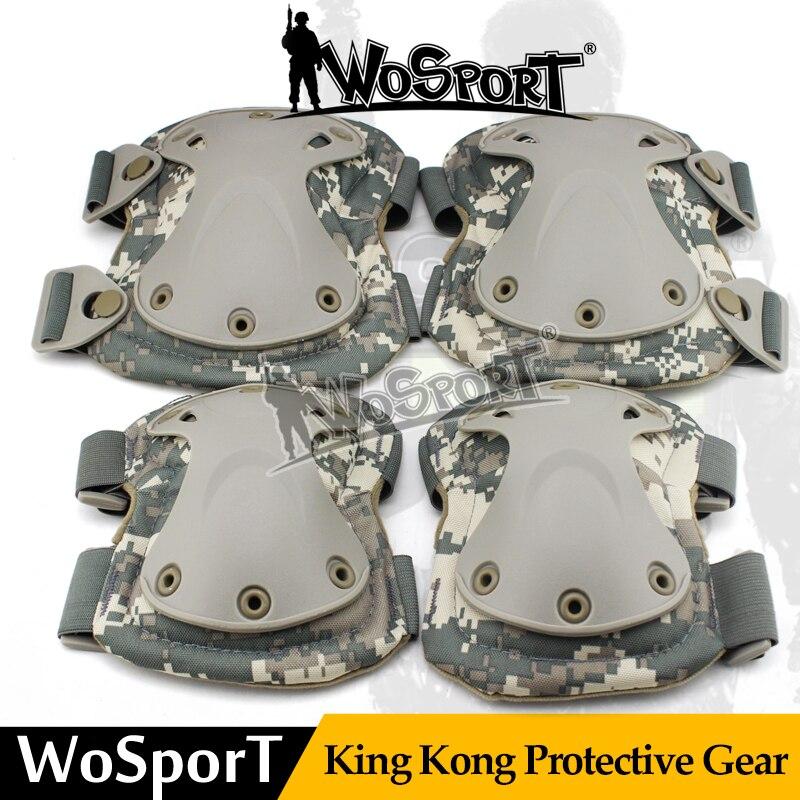 Prix pour WoSporT Tactique Sport De Protection Roi Kong Gear Set En Plein Air Multi Couleur Sécurité Genouillère Coude pour Militaire Airsoft Chasse