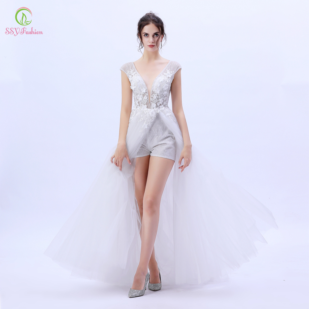 SSYFashion New White Evening Dress Lace Flower Beading High split Beach Gown Custom Sexy Party Formal
