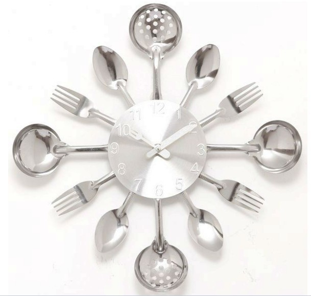 A001 Wall Clock Knife Fork Spoon Originality Clock Kitchen Restaurant The Wall Decoration Quartz Metal Times