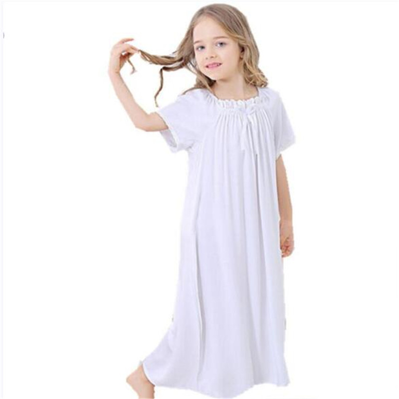 Girls Nightgown White Cotton Long Nightgown For Girls European Loose Comfortable Kids Sleepwear Lace Bow Homewear 3-8 Year