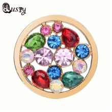 Qusfy Multi Color Stone Pendant Crystal Coin Womens Coin Pendant for 35mm Holder Necklace Gold Silver Round Pendant NC