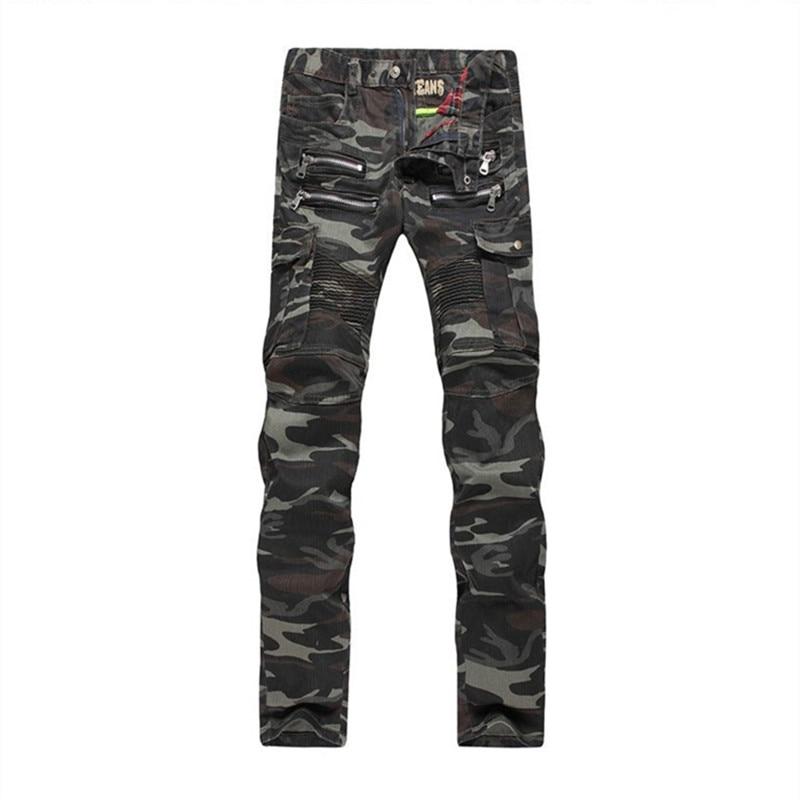 ABOORUN Mens Slim Biker Jeans Camouflage Motorcycle Feet Denim Pants Skinny Pleated Pencil Jeans Z1161