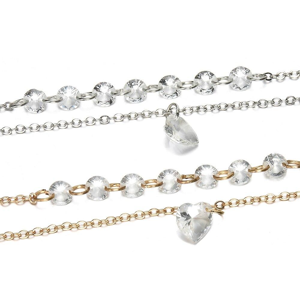 2019 New Fashion Simple Pretty Women Rhinestone Crystal Multilayer Bracelet Bangle Fashion Cuff Jewelry