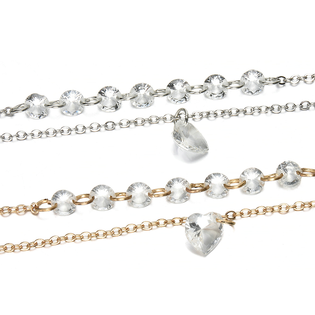 2019 New Fashion Simple Pretty Women Rhinestone Crystal Multilayer Bracelet Bangle Fashion Cuff Jewelry 4