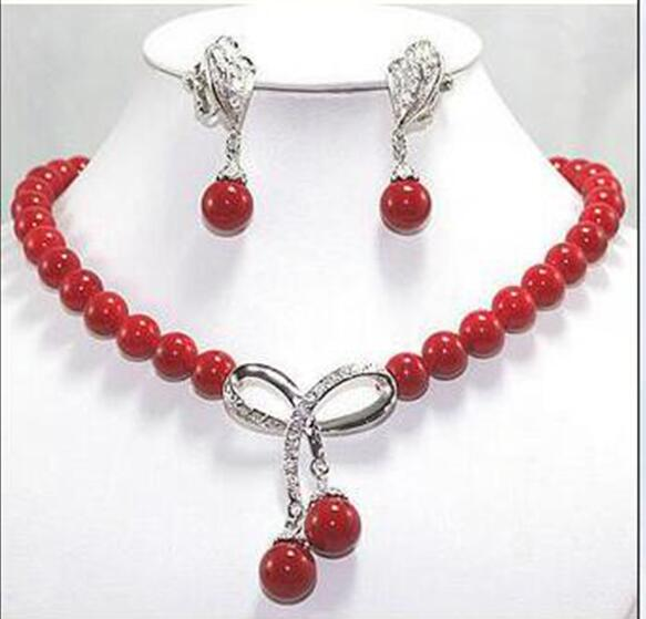 Woman Jewelry Necklace Set 10mm Hot Red Coral Round Bead Choker Shining Rhinestone Bowknot Pendant Earring ear clip rhinestone bead pendant necklace and earrings