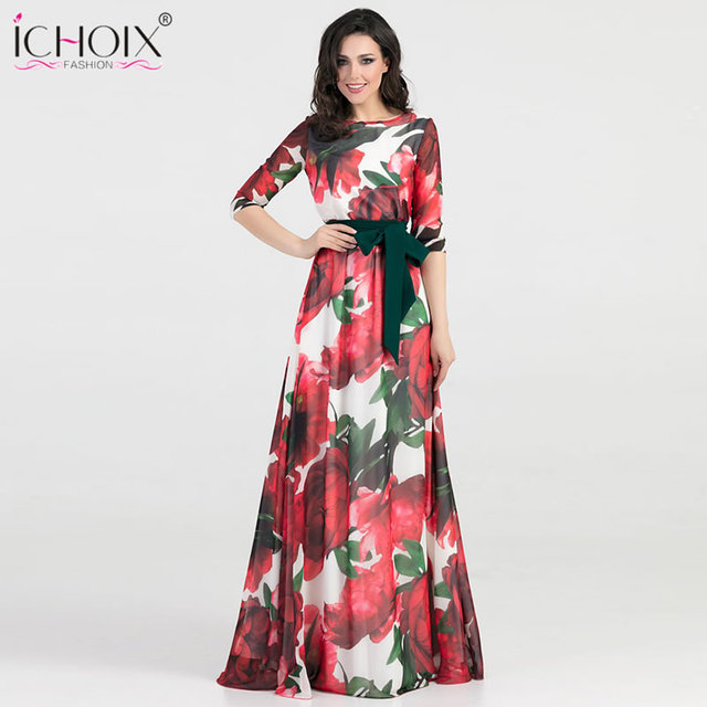 aa1da4eddf9 2018 Autumn Women Long Dress Fashion Casual Chiffon Flower Print Maxi Dress  Female Elegant Blue Party