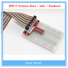 1Set Raspberry PI GPIO Extension Board + 26 Pin Cobbler Extension Flat Ribbon Cable Wire + 400pt Breadboard for Raspberry PI
