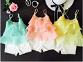 Fashion Candy Summer Color children Baby Girl clothing set Chiffon Beads cake sling+white Shorts 2pcs flower halter top kids